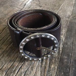 American Eagle Brown Leather Rhinestone Belt Small